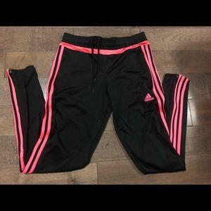 Black and pink Adidas track pants